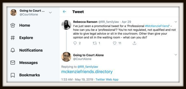 Dispelling the McKenzie Friend myths and dealing with a twitter troll